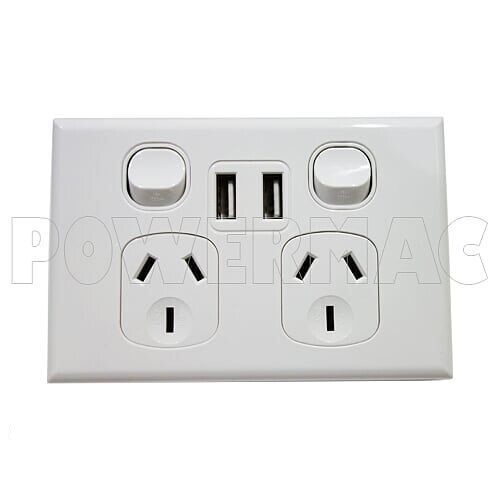 DOUBLE POWER POINT 10A, TWIN 3.5AMP USB 2-PORT